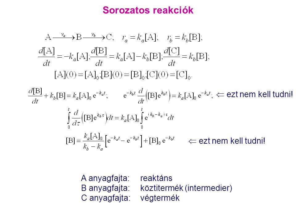 Sorozatos reakciók  ezt nem kell tudni! A anyagfajta: reaktáns B anyagfajta: köztitermék (intermedier) C anyagfajta: végtermék