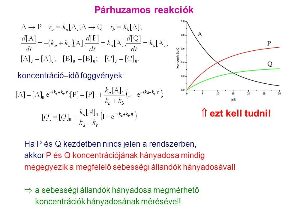 Párhuzamos reakciók koncentráció  idő függvények: Ha P és Q kezdetben nincs jelen a rendszerben, akkor P és Q koncentrációjának hányadosa mindig mege