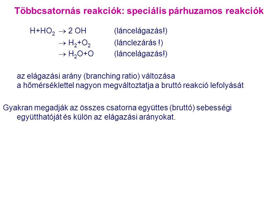 Többcsatornás reakciók: speciális párhuzamos reakciók H+HO 2  2 OH(láncelágazás!)  H 2 +O 2 (lánclezárás !)  H 2 O+O(láncelágazás!) az elágazási ar