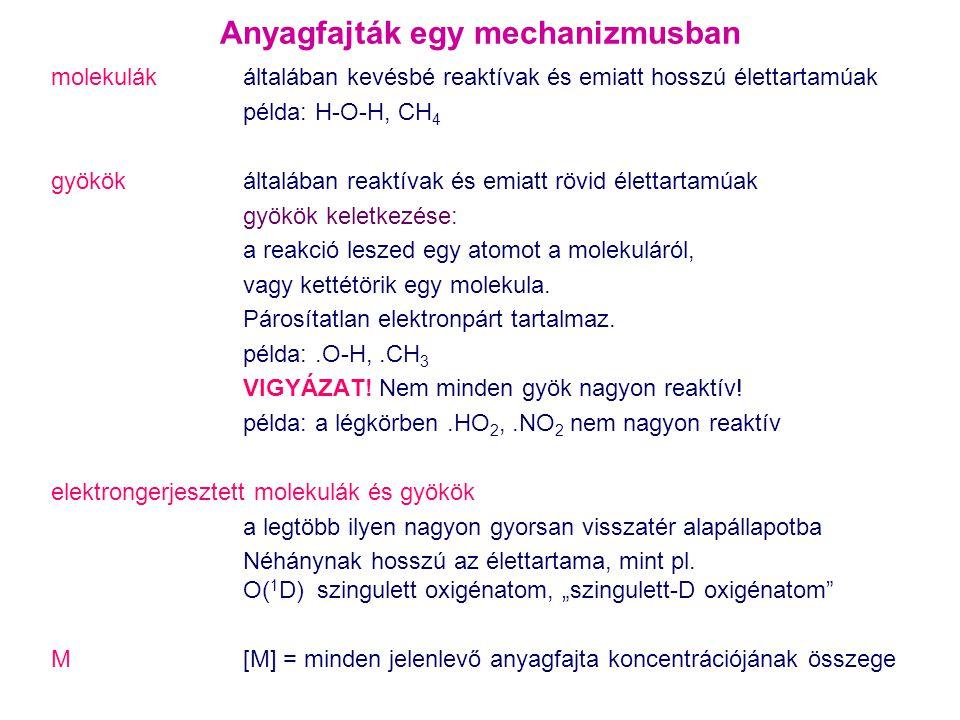 Anyagfajták egy mechanizmusban molekulák általában kevésbé reaktívak és emiatt hosszú élettartamúak példa: H-O-H, CH 4 gyökök általában reaktívak és e