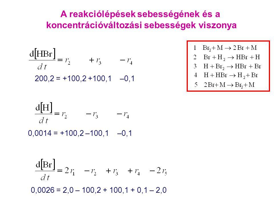 0,0014 = +100,2 –100,1 –0,1 0,0026 = 2,0 – 100,2 + 100,1 + 0,1 – 2,0 200,2 = +100,2 +100,1 –0,1 A reakciólépések sebességének és a koncentrációváltozá