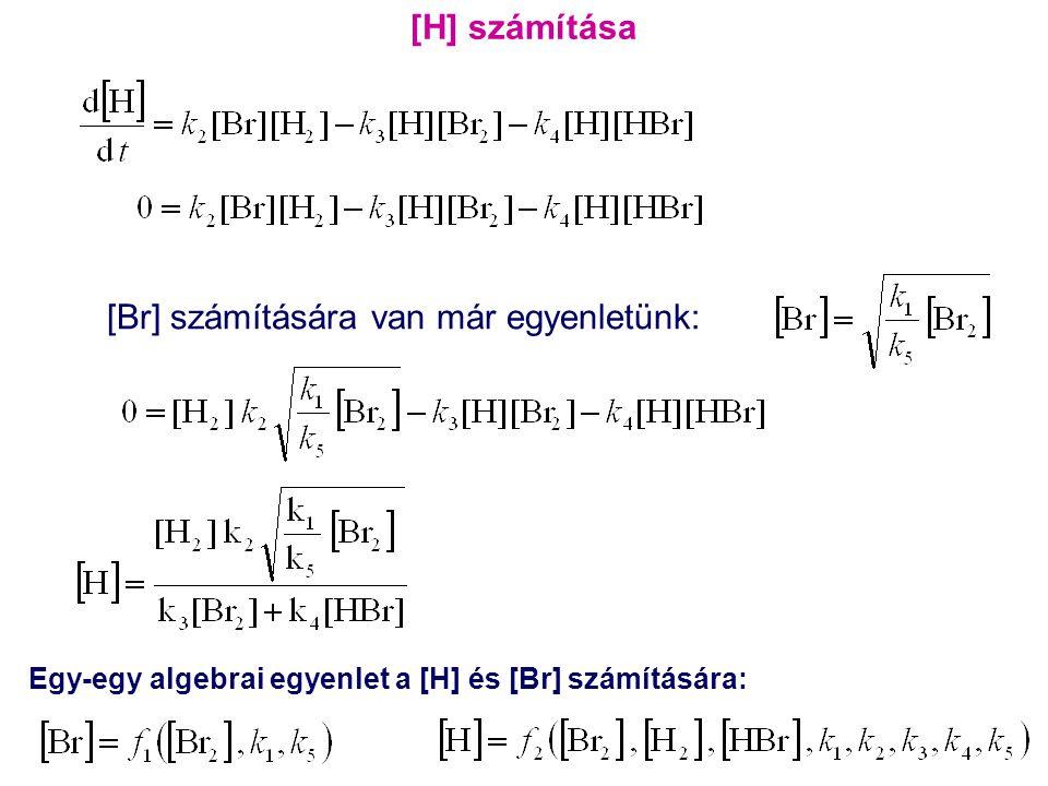 Egy-egy algebrai egyenlet a [H] és [Br] számítására: [Br] számítására van már egyenletünk: [H] számítása