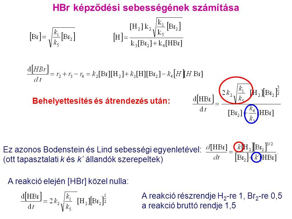 HBr képződési sebességének számítása Ez azonos Bodenstein és Lind sebességi egyenletével: (ott tapasztalati k és k' állandók szerepeltek) Behelyettesí