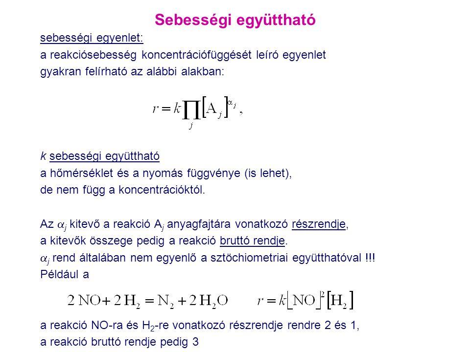 Sebességi együttható sebességi egyenlet: a reakciósebesség koncentrációfüggését leíró egyenlet gyakran felírható az alábbi alakban: k sebességi együtt