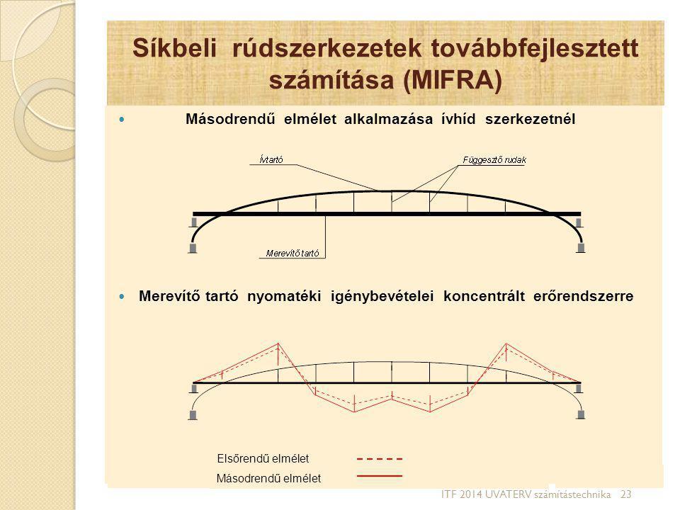 Síkbeli rúdszerkezetek továbbfejlesztett számítása (MIFRA) Másodrendű elmélet alkalmazása ívhíd szerkezetnél Merevítő tartó nyomatéki igénybevételei k