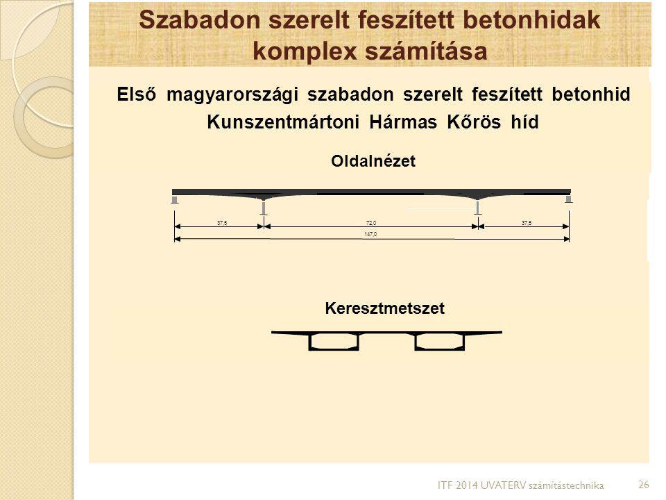 Szabadon szerelt feszített betonhidak komplex számítása Első magyarországi szabadon szerelt feszített betonhid Kunszentmártoni Hármas Kőrös híd Oldaln