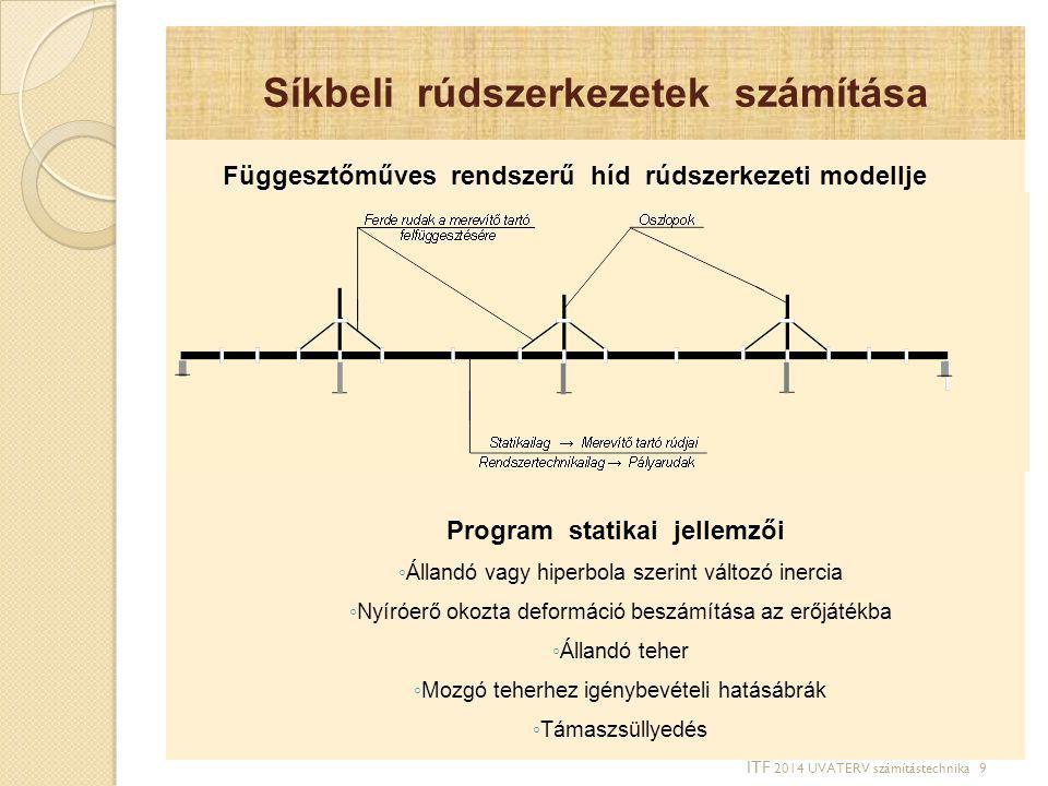 Síkbeli rúdszerkezetek számítása Függesztőműves rendszerű híd rúdszerkezeti modellje Program statikai jellemzői ◦ Állandó vagy hiperbola szerint válto