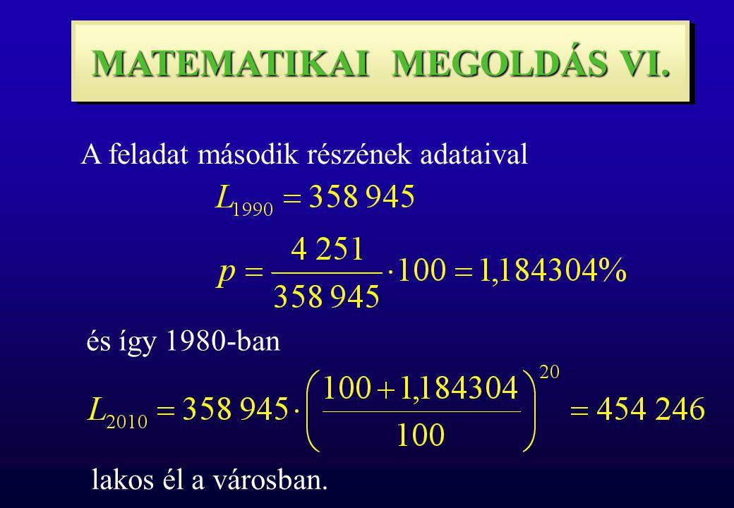 MATEMATIKAI MEGOLDÁS VI. A feladat második részének adataival és így 1980-ban lakos él a városban.
