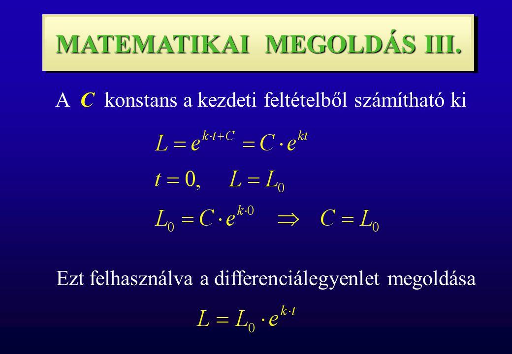 MATEMATIKAI MEGOLDÁS III. Ezt felhasználva a differenciálegyenlet megoldása A C konstans a kezdeti feltételből számítható ki