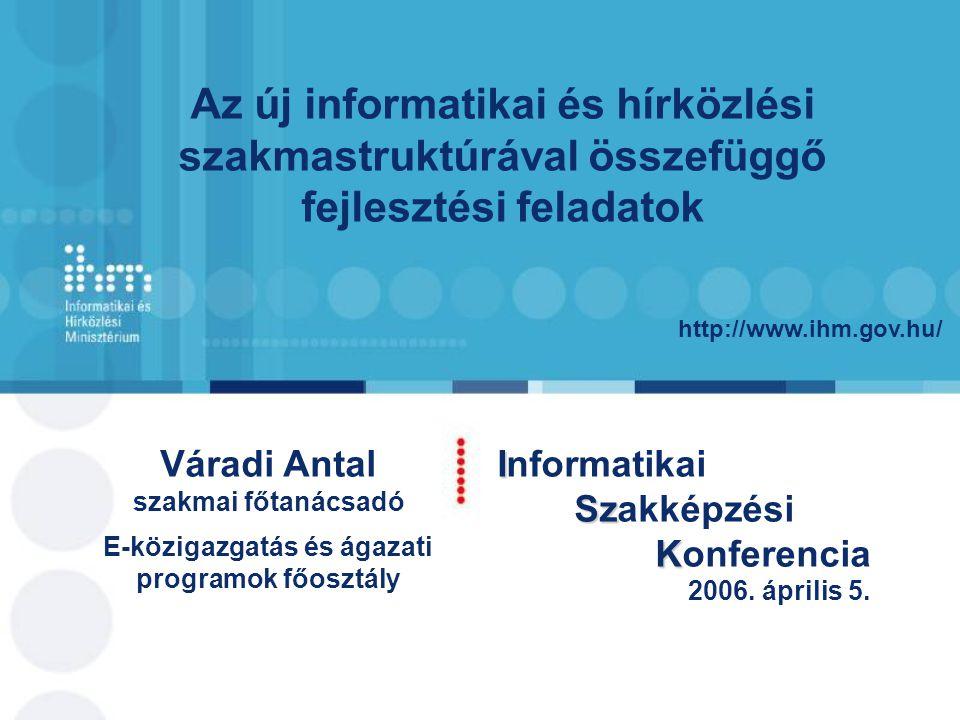 http://www.ihm.gov.hu/ Váradi Antal szakmai főtanácsadó E-közigazgatás és ágazati programok főosztály I Informatikai Sz Szakképzési K Konferencia 2006.