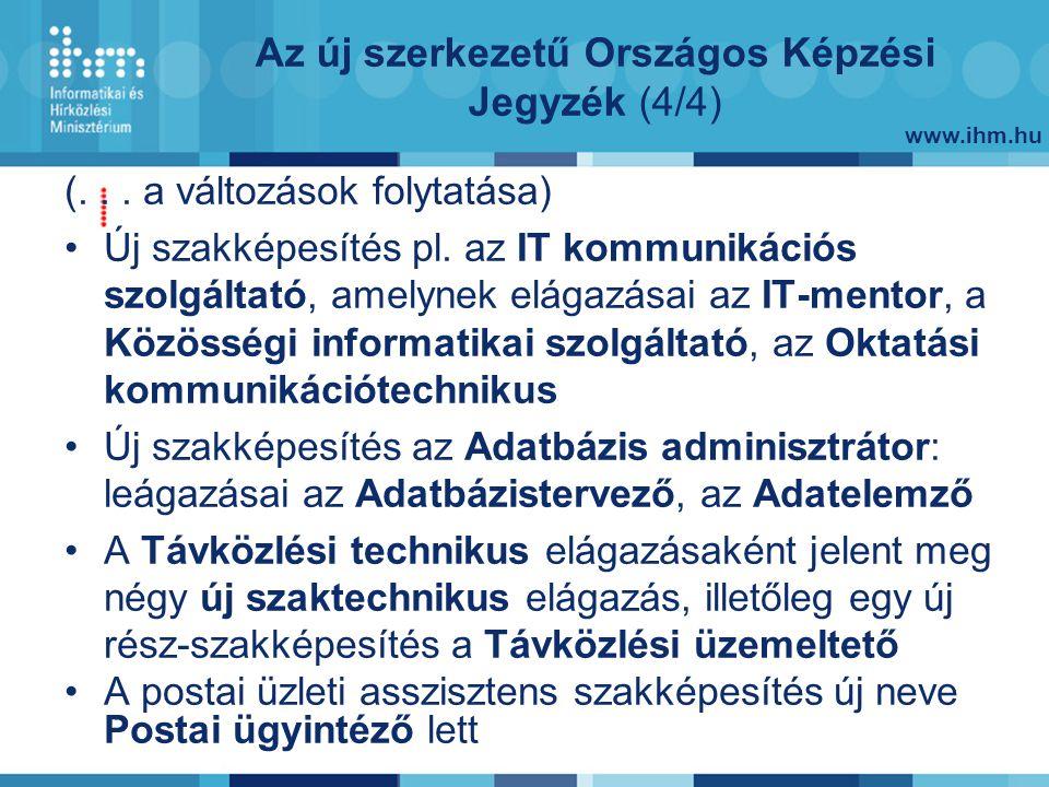 www.ihm.hu Az új szerkezetű Országos Képzési Jegyzék (4/4) (...