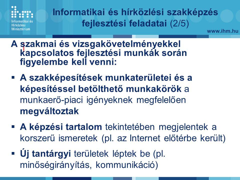 www.ihm.hu A szakmai és vizsgakövetelményekkel kapcsolatos fejlesztési munkák során figyelembe kell venni:  A szakképesítések munkaterületei és a képesítéssel betölthető munkakörök a munkaerő-piaci igényeknek megfelelően megváltoztak  A képzési tartalom tekintetében megjelentek a korszerű ismeretek (pl.