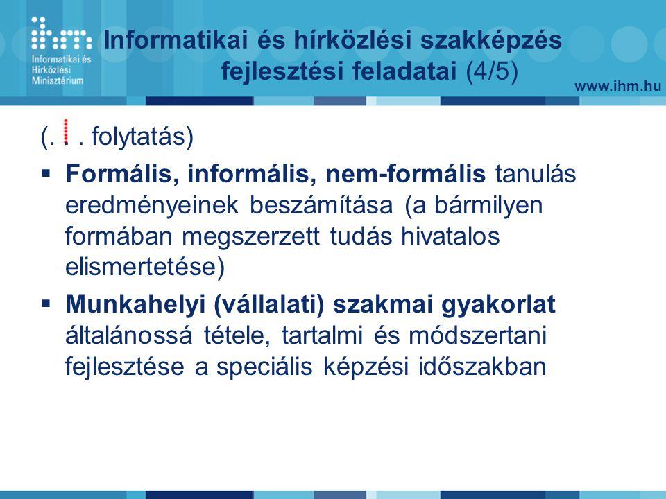 www.ihm.hu Informatikai és hírközlési szakképzés fejlesztési feladatai (4/5) (...