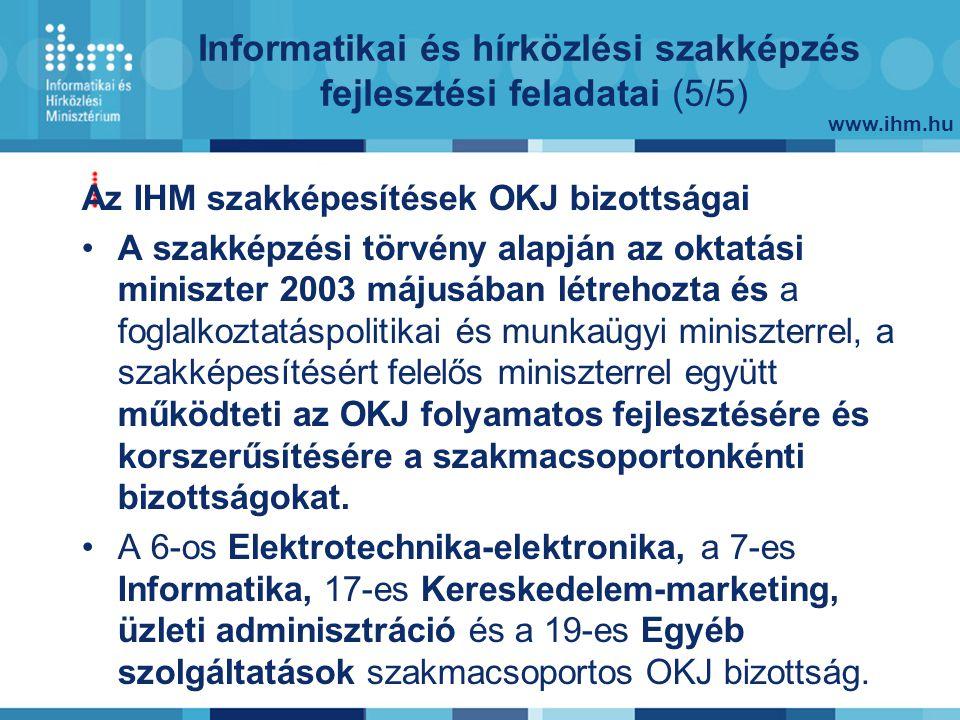 www.ihm.hu Az IHM szakképesítések OKJ bizottságai A szakképzési törvény alapján az oktatási miniszter 2003 májusában létrehozta és a foglalkoztatáspolitikai és munkaügyi miniszterrel, a szakképesítésért felelős miniszterrel együtt működteti az OKJ folyamatos fejlesztésére és korszerűsítésére a szakmacsoportonkénti bizottságokat.