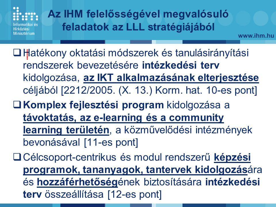www.ihm.hu Az IHM felelősségével megvalósuló feladatok az LLL stratégiájából  Hatékony oktatási módszerek és tanulásirányítási rendszerek bevezetésére intézkedési terv kidolgozása, az IKT alkalmazásának elterjesztése céljából [2212/2005.