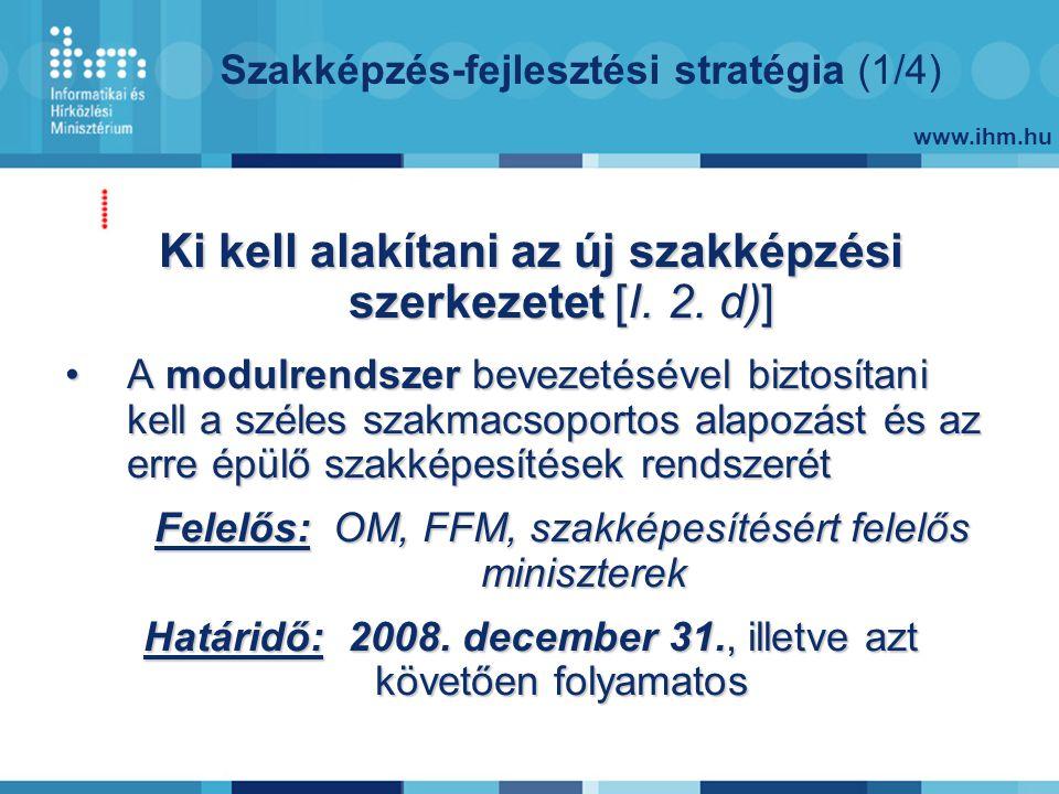 www.ihm.hu Szakképzés-fejlesztési stratégia (1/4) Ki kell alakítani az új szakképzési szerkezetet [I.
