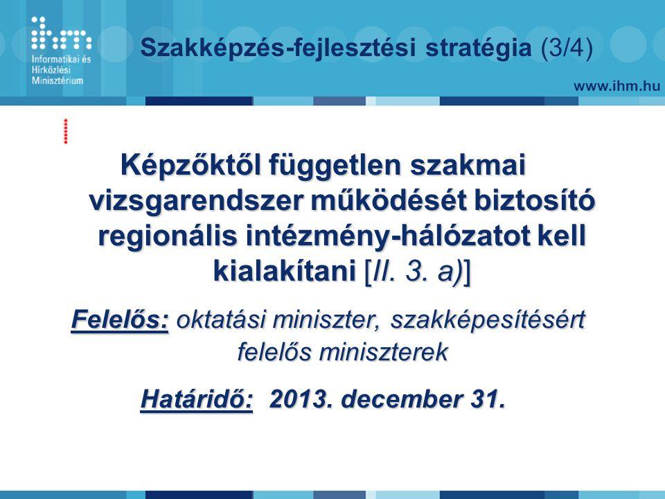 www.ihm.hu Szakképzés-fejlesztési stratégia (3/4) Képzőktől független szakmai vizsgarendszer működését biztosító regionális intézmény-hálózatot kell kialakítani [II.