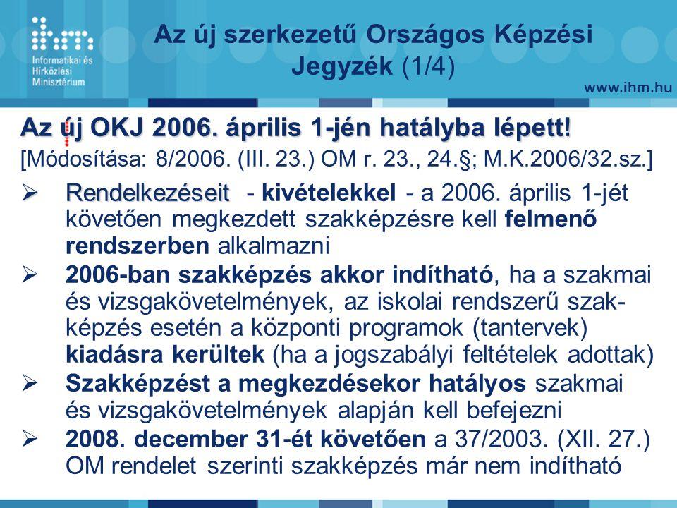 www.ihm.hu Az új szerkezetű Országos Képzési Jegyzék (1/4) Az új OKJ 2006.
