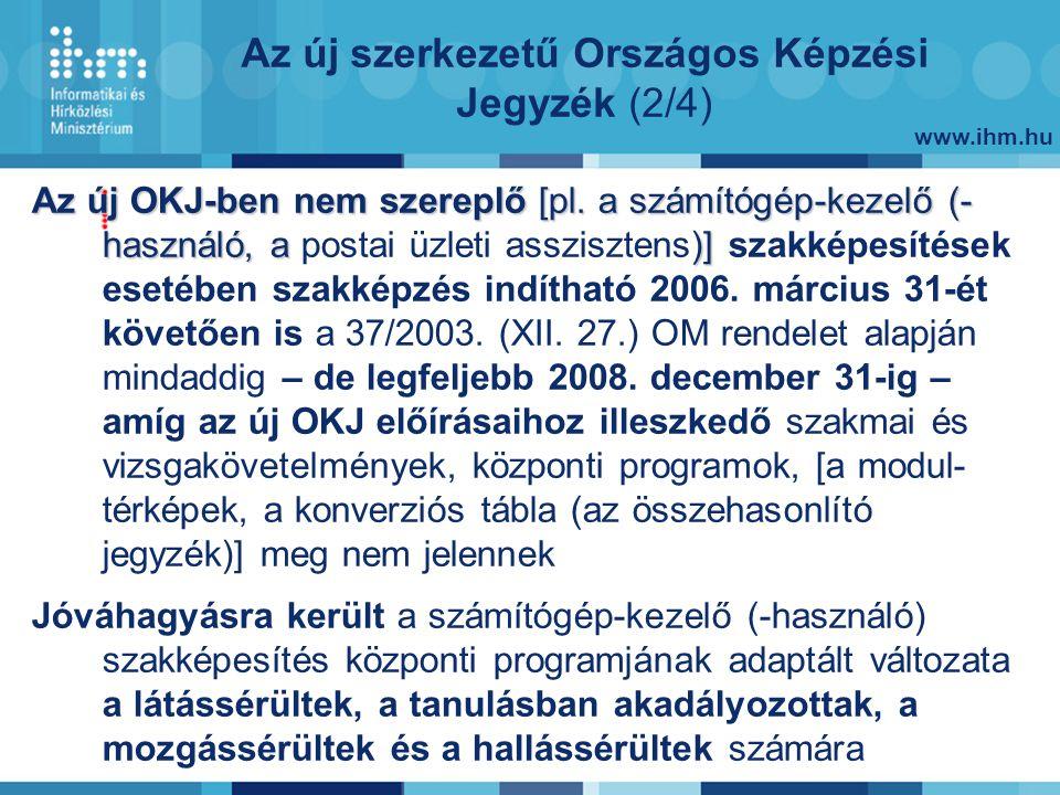www.ihm.hu Az új szerkezetű Országos Képzési Jegyzék (2/4) Az új OKJ-ben nem szereplő [pl.