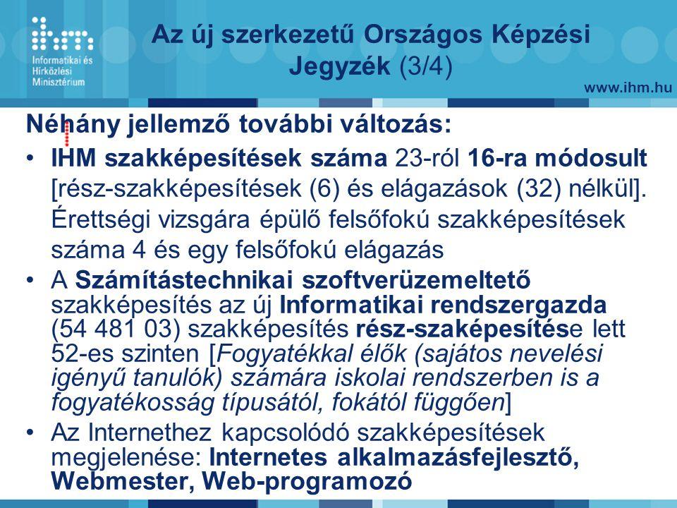 www.ihm.hu Néhány jellemző további változás: IHM szakképesítések száma 23-ról 16-ra módosult [rész-szakképesítések (6) és elágazások (32) nélkül].