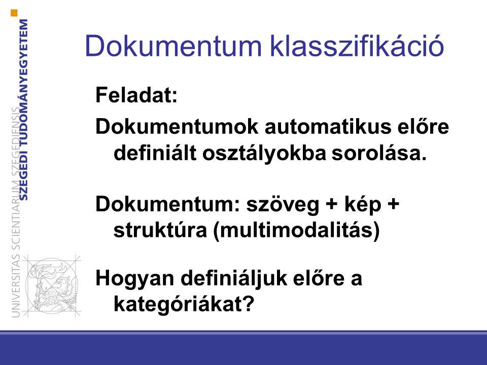 Dokumentum klasszifikáció Feladat: Dokumentumok automatikus előre definiált osztályokba sorolása. Dokumentum: szöveg + kép + struktúra (multimodalitás
