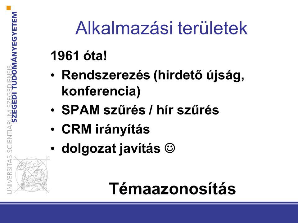 Alkalmazási területek 1961 óta! Rendszerezés (hirdető újság, konferencia) SPAM szűrés / hír szűrés CRM irányítás dolgozat javítás Témaazonosítás