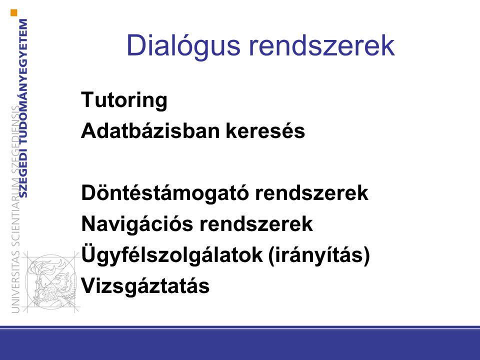Dialógus rendszerek Tutoring Adatbázisban keresés Döntéstámogató rendszerek Navigációs rendszerek Ügyfélszolgálatok (irányítás) Vizsgáztatás