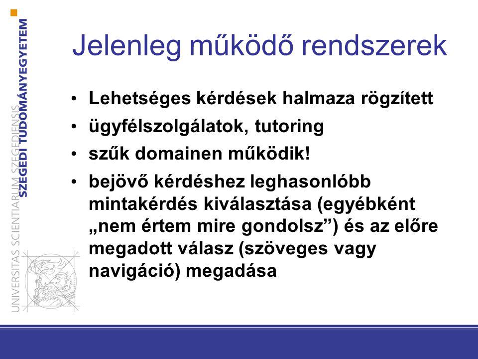 Számítógépes nyelvészeti alkalmazások Gépi fordítás Dokumentum osztályozás/klaszterezés Információ kinyerés Kivonatolás