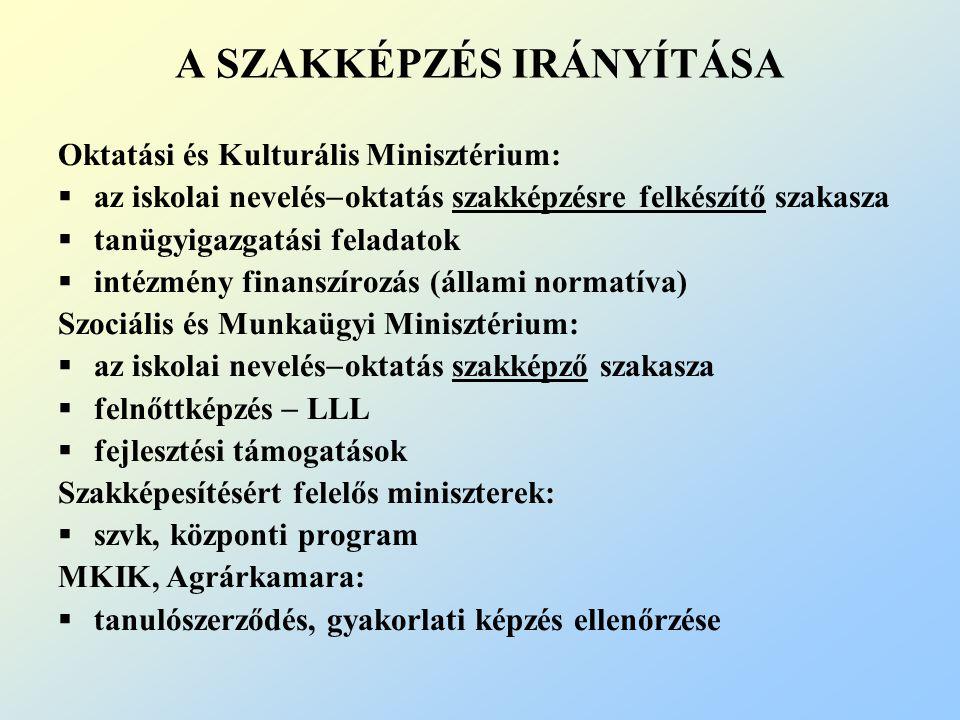 A SZAKKÉPZÉS IRÁNYÍTÁSA Oktatási és Kulturális Minisztérium:  az iskolai nevelés  oktatás szakképzésre felkészítő szakasza  tanügyigazgatási feladatok  intézmény finanszírozás (állami normatíva) Szociális és Munkaügyi Minisztérium:  az iskolai nevelés  oktatás szakképző szakasza  felnőttképzés  LLL  fejlesztési támogatások Szakképesítésért felelős miniszterek:  szvk, központi program MKIK, Agrárkamara:  tanulószerződés, gyakorlati képzés ellenőrzése