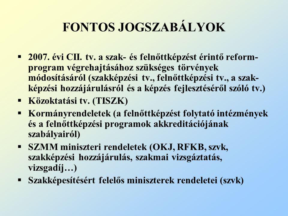 FONTOS JOGSZABÁLYOK  2007. évi CII. tv.