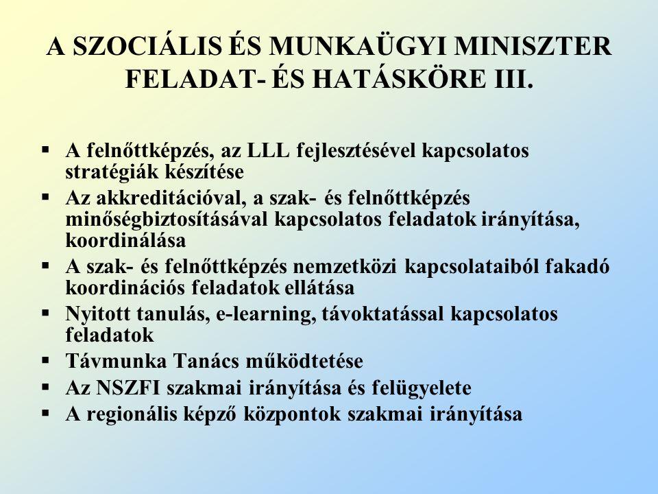 A SZOCIÁLIS ÉS MUNKAÜGYI MINISZTER FELADAT- ÉS HATÁSKÖRE III.