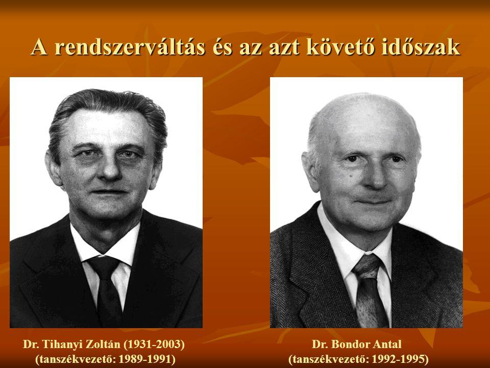 A rendszerváltás és az azt követő időszak Dr. Tihanyi Zoltán (1931-2003) (tanszékvezető: 1989-1991) Dr. Bondor Antal (tanszékvezető: 1992-1995)