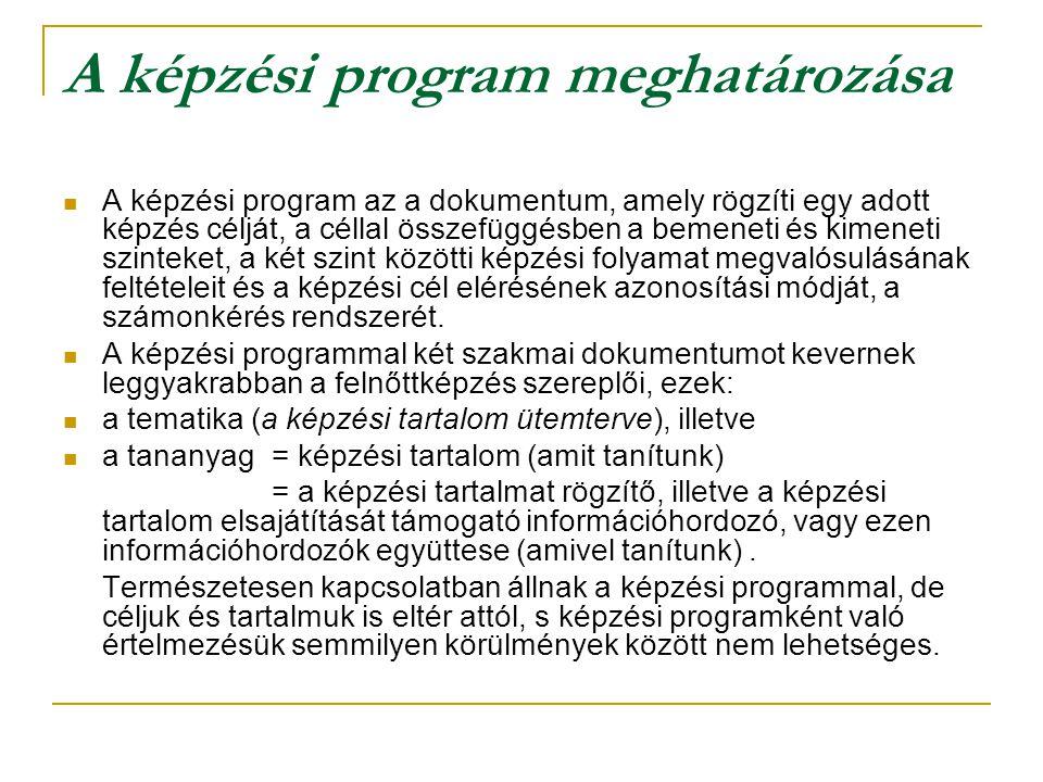 A képzési program meghatározása A képzési program az a dokumentum, amely rögzíti egy adott képzés célját, a céllal összefüggésben a bemeneti és kimene