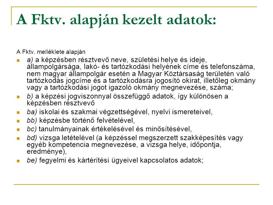 A Fktv. alapján kezelt adatok: A Fktv. melléklete alapján a) a képzésben résztvevő neve, születési helye és ideje, állampolgársága, lakó- és tartózkod