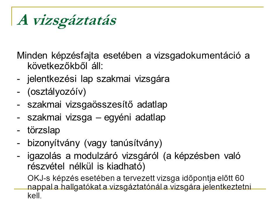 A vizsgáztatás Minden képzésfajta esetében a vizsgadokumentáció a következőkből áll: -jelentkezési lap szakmai vizsgára -(osztályozóív) - szakmai vizs