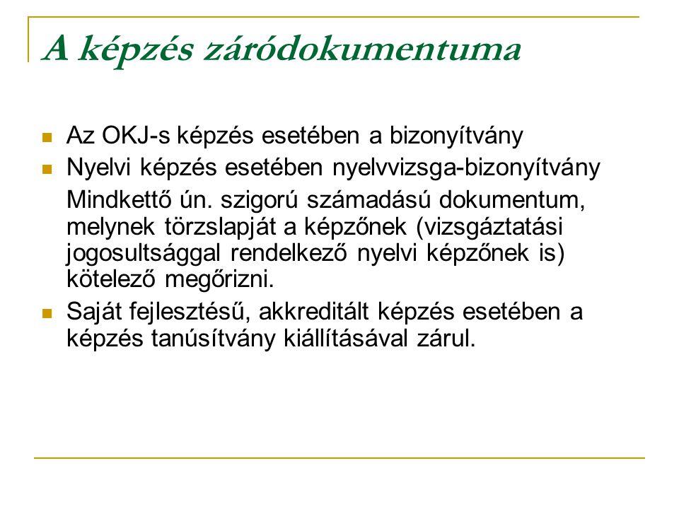 A képzés záródokumentuma Az OKJ-s képzés esetében a bizonyítvány Nyelvi képzés esetében nyelvvizsga-bizonyítvány Mindkettő ún. szigorú számadású dokum