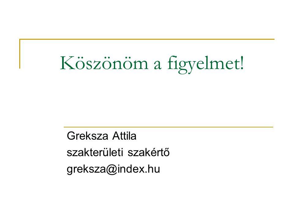Köszönöm a figyelmet! Greksza Attila szakterületi szakértő greksza@index.hu
