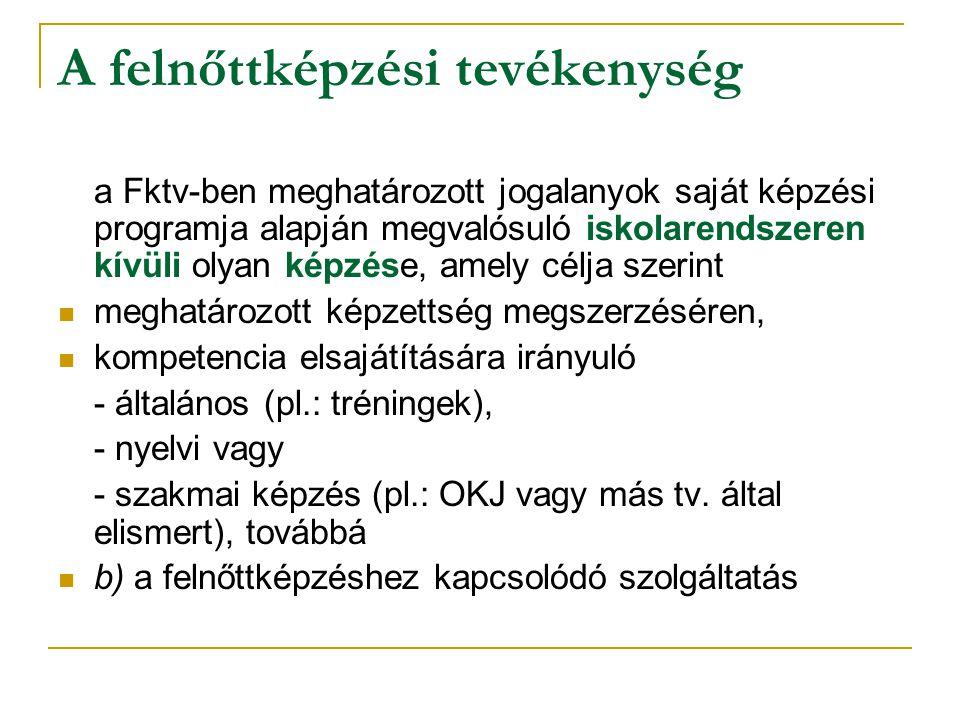 Fktv.10/A.§ - képzési folyamat elvárt dokumentumai b) a képzésben részt vevő felnőtt Fktv.