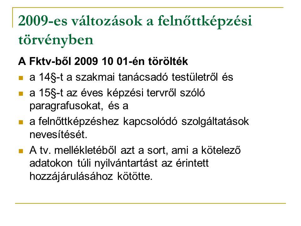 2009-es változások a felnőttképzési törvényben A Fktv-ből 2009 10 01-én törölték a 14§-t a szakmai tanácsadó testületről és a 15§-t az éves képzési te