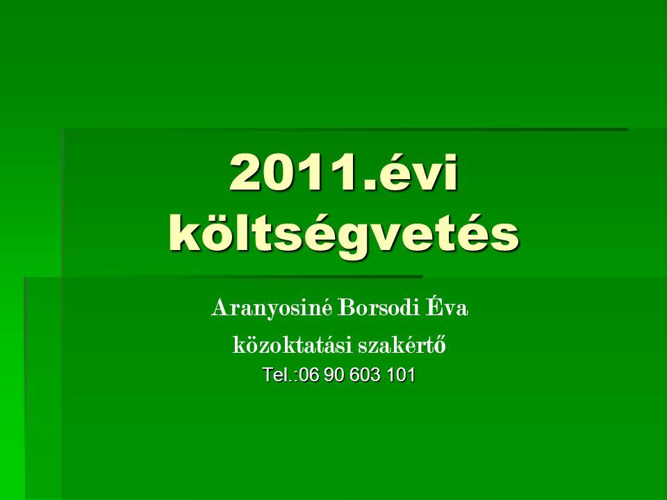 2011.évi költségvetés Aranyosiné Borsodi Éva közoktatási szakért ő Tel.:06 90 603 101