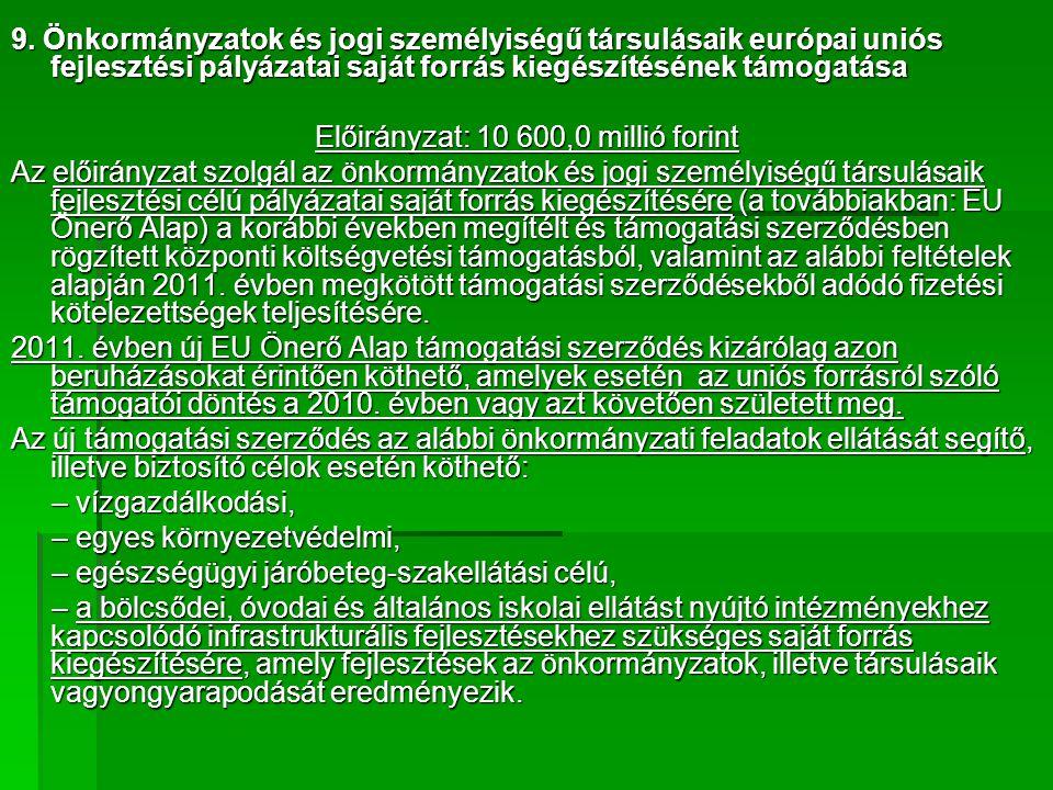 9. Önkormányzatok és jogi személyiségű társulásaik európai uniós fejlesztési pályázatai saját forrás kiegészítésének támogatása Előirányzat: 10 600,0