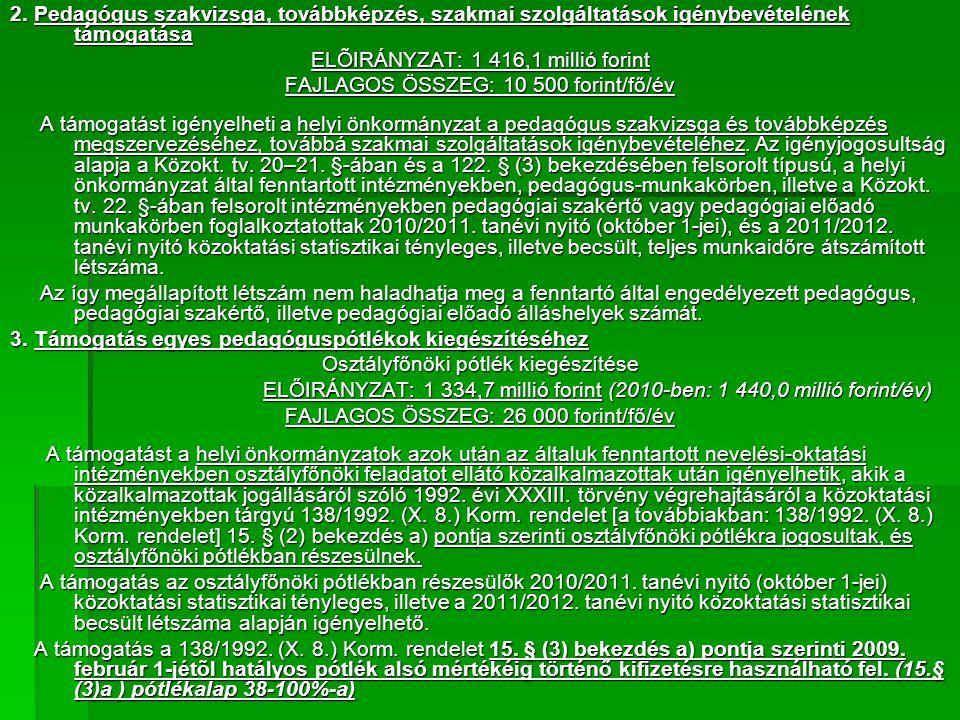 2. Pedagógus szakvizsga, továbbképzés, szakmai szolgáltatások igénybevételének támogatása ELÕIRÁNYZAT: 1 416,1 millió forint FAJLAGOS ÖSSZEG: 10 500 f