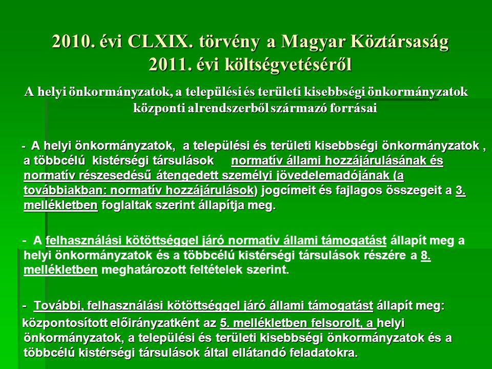 2010. évi CLXIX. törvény a Magyar Köztársaság 2011.