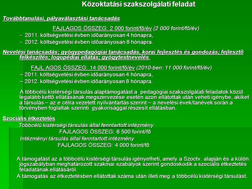 Közoktatási szakszolgálati feladat Továbbtanulási, pályaválasztási tanácsadás FAJLAGOS ÖSSZEG: 2 000 forint/fő/év (2 000 forint/fő/év) - 2011.