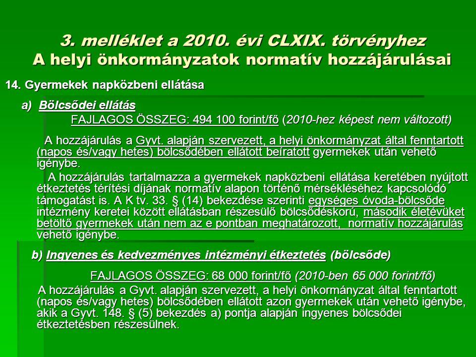3. melléklet a 2010. évi CLXIX. törvényhez A helyi önkormányzatok normatív hozzájárulásai 14.