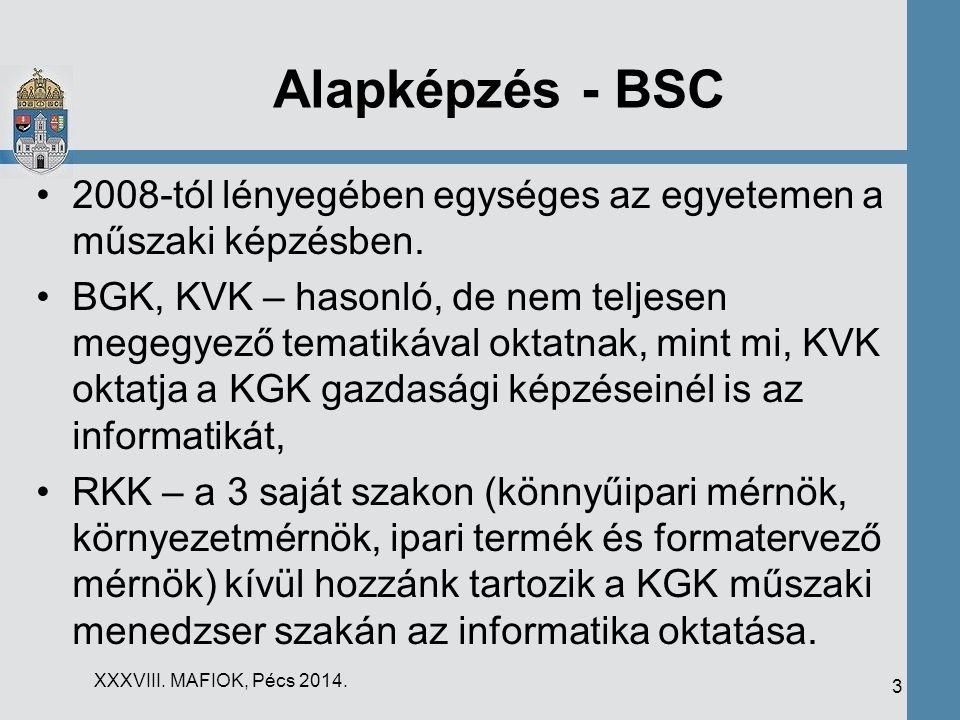 Alapképzés - BSC 2008-tól lényegében egységes az egyetemen a műszaki képzésben. BGK, KVK – hasonló, de nem teljesen megegyező tematikával oktatnak, mi
