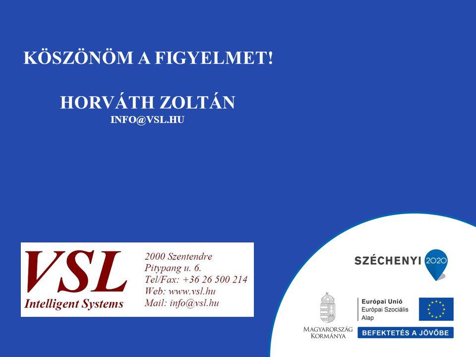 KÖSZÖNÖM A FIGYELMET! HORVÁTH ZOLTÁN INFO@VSL.HU