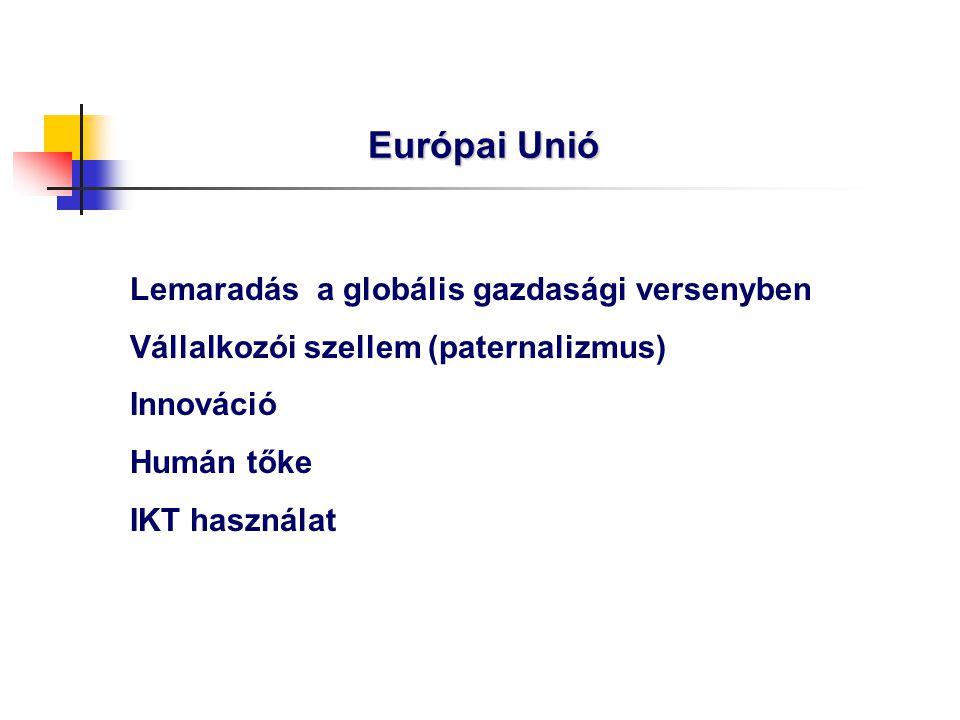 Európai Unió Lemaradás a globális gazdasági versenyben Vállalkozói szellem (paternalizmus) Innováció Humán tőke IKT használat