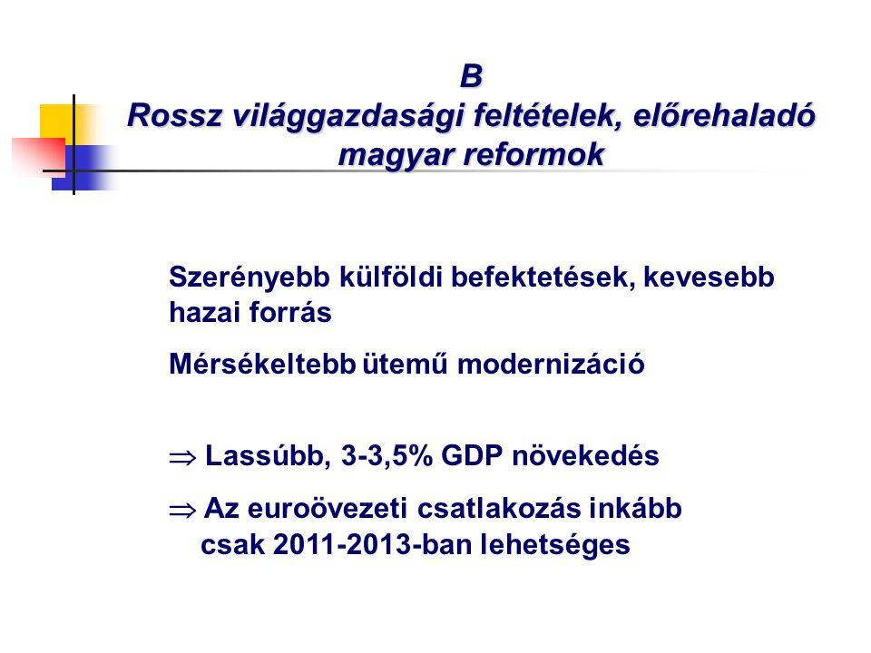B Rossz világgazdasági feltételek, előrehaladó magyar reformok Szerényebb külföldi befektetések, kevesebb hazai forrás Mérsékeltebb ütemű modernizáció  Lassúbb, 3-3,5% GDP növekedés  Az euroövezeti csatlakozás inkább csak 2011-2013-ban lehetséges