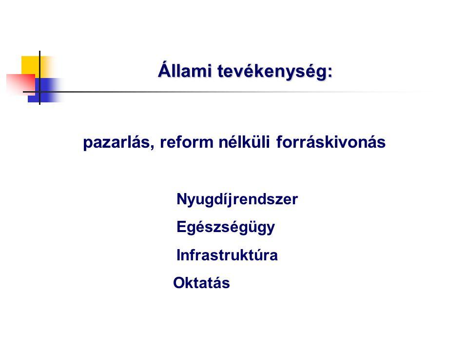 Állami tevékenység: pazarlás, reform nélküli forráskivonás Nyugdíjrendszer Egészségügy Infrastruktúra Oktatás